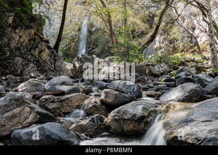 Sturtevant Falls and Santa Anita Canyon in the San Gabriel Mountains near Los Angeles and Pasadena, California. - Stock Photo