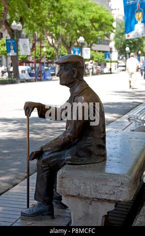 Tarragona, statue of older man sitting on bench, Spain,Europe - Stock Photo