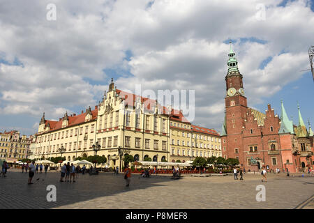 Market Square and old twon hall in the Old Town of Wroclaw, Silesia, Poland, Europe - Stock Photo