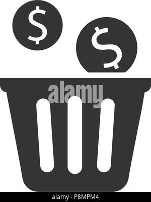 Financial Waste Icon - Stock Photo