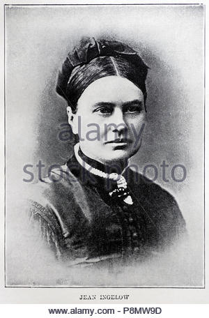 Jean Ingelow, 1820 – 1897, was an English poet and novelist, picture from late 1800s - Stock Photo