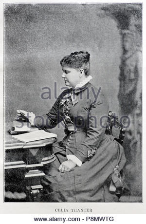 Celia Thaxter, 1835 – 1894, was an American writer and poet, picture from late 1800s - Stock Photo
