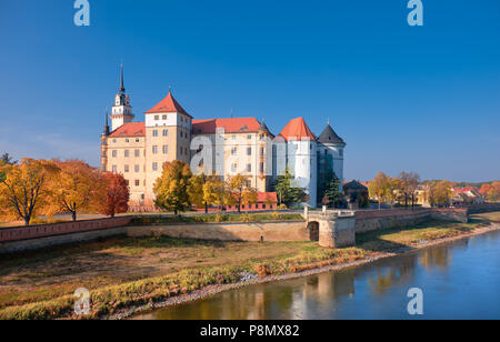 Hartenfels castle in Torgau, a town on the banks of the Elbe in northwestern Saxony, Germany - Stock Photo