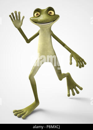 3D rendering of a smiling cartoon frog waving and looking very happy. White background. - Stock Photo