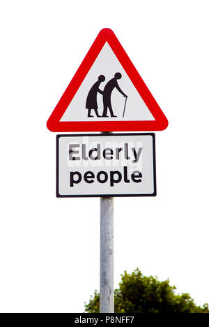 Elderly people road warning sign - Stock Photo