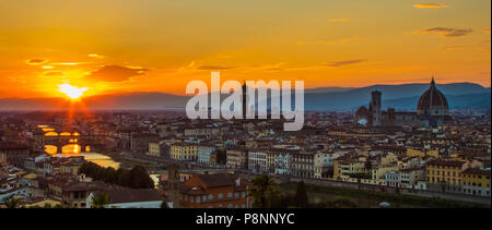 The last light shines on Florence as seen from Pizzale Michelangelo. - Stock Photo