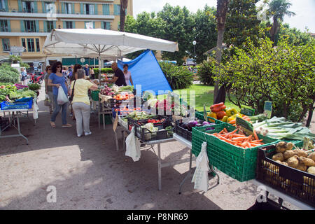 Villefranche Sur Mer, Cote D' Azur, France, June 2018, A local fresh food market attracts local and tourists. - Stock Photo