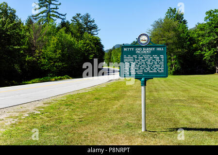 A sign in Lincoln New Hampshire memorializing the Betty and Barney Hill UFO abduction Incident - Stock Photo