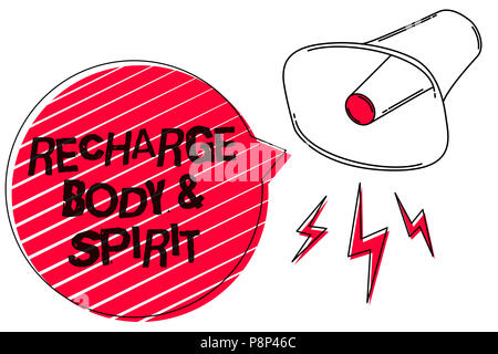 Text sign showing Recharge BodyandSpirit. Conceptual photo fill your energy through relaxation and having fun Sketch artwork loud sound speaker alarm  - Stock Photo