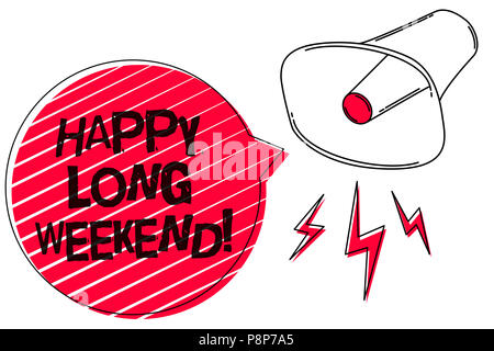 Text sign showing Happy Long Weekend. Conceptual photo wishing someone happy vacation Travel to holiday Sketch artwork loud sound speaker alarm awaren - Stock Photo