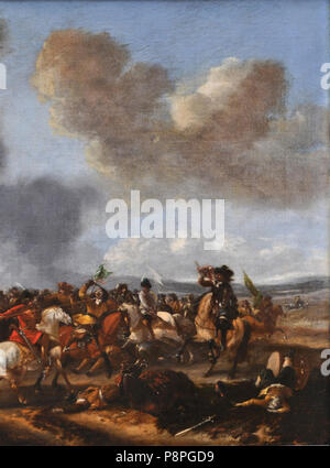 A cavalry battle scene by Philips Wouwerman (detail) 03. - Stock Photo