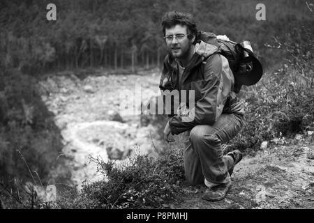 ENVIRONMENTALIST BODHI GARRETT on the AROUND MANASLU TREK - NUPRI REGION, NEPAL - Stock Photo