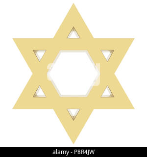 Star of David isolated on white background. Include clipping path. 3D render - Stock Photo