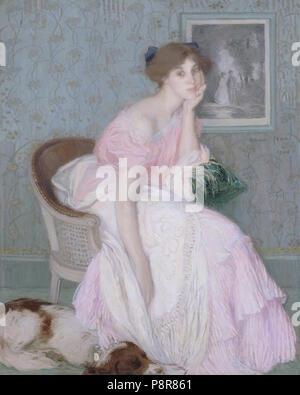 Miss Ella Carmichaël *oil on canvas *150 x 120 cm  *signed c.r.: Aman Jean / 1906. 14 Edmond Aman-Jean - Miss Ella Carmichaël - Stock Photo