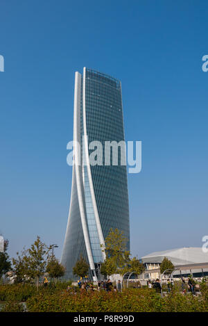 MILAN, ITALY, OCTOBER 15, 2017 - Hadid Tower in 'City Life' complex in 3 Torri Milan place, modern buildings and condos. - Stock Photo
