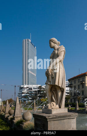 MILAN, ITALY, OCTOBER,15, 2017 - Isozaki Tower in 'City Life' complex in 3 Torri Milan place, modern buildings and condos. - Stock Photo