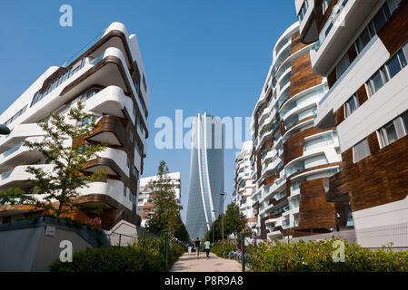MILAN, ITALY, OCTOBER,15, 2017 -  Hadid Tower in 'City Life' complex in 3 Torri Milan place, modern buildings and condos. - Stock Photo