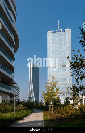 MILAN, ITALY, OCTOBER,15, 2017 - Isozaki Tower and Hadid Tower in 'City Life' complex in 3 Torri Milan place, modern buildings and condos. - Stock Photo