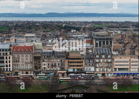 Cityscape of old town Edinburgh with classic Scottish buildings on Princess Street towards North Sea seen from the Esplanade of Edinburgh Castle, UK - Stock Photo