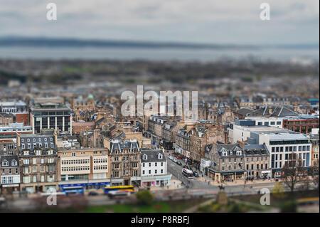 Old town Edinburgh with classic Scottish buildings on Princess Street towards North Sea as seen from the Esplanade of Edinburgh Castle, Scotland, UK - Stock Photo