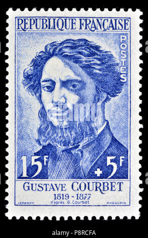 French postage stamp (1958) : Gustave Courbet (Jean Désiré Gustave Courbet: 1819 – 1877) French painter and leader of the French Realism movement - Stock Photo
