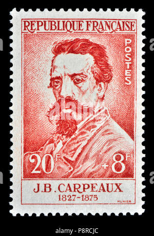 French postage stamp (1958) : Jean-Baptiste Carpeaux (1827 – 1875) French sculptor and painter - Stock Photo