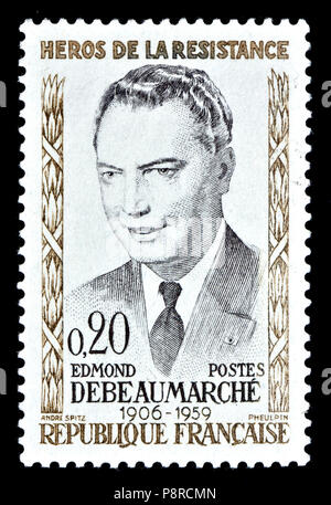 French postage stamp (1960) : Edmond Debeaumarché (1906 – 1959) French postal worker, member of the French Resistance during World War II. - Stock Photo