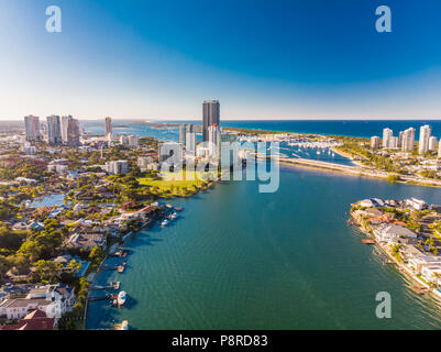 Aerial view of Southport on the Gold Coast, Queendsland, Austral - Stock Photo
