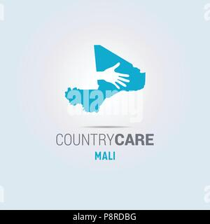 Illustration of an isolated hands offering sign with the map of Mali. For web design and application interface, also useful for infographics. Vector i - Stock Photo