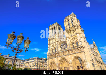 Typical iron street lamp with Notre Dame de Paris in the background, popular landmark and cathedral of the capital of France. Gothic French architecture of Our Lady of Paris in a sunny day, blue sky. - Stock Photo