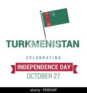 waving flag of Turkmenistan. Template for independence day. vector illustration. For web design and application interface, also useful for infographic - Stock Photo