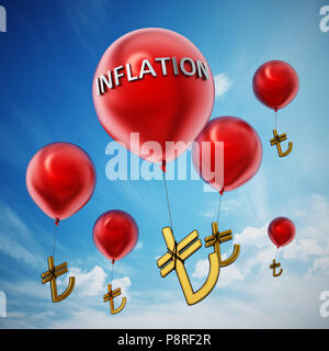 Red flying balloons with tied Turkish lira symbol. 3D illustration. - Stock Photo