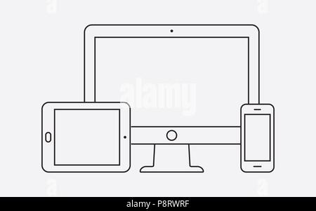 Modern digital devices thin line icon. Vector illustration. - Stock Photo
