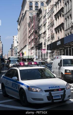 Police car un Broadway Street in the neighborhood of Tribeca. Manhattan New York USA - November 2017   usage worldwide - Stock Photo