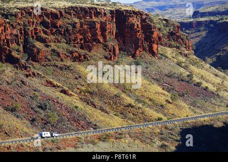 Caravan negotiating Great northern Highway,  Munjini East Gorge, Pilbara, Northwest Australia | usage worldwide - Stock Photo