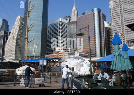 Buildings in front line in South Street and Seaport Pier 15, 16 and 17. Lower Manhattan, New York City, United States. - November 2017 | usage worldwide - Stock Photo
