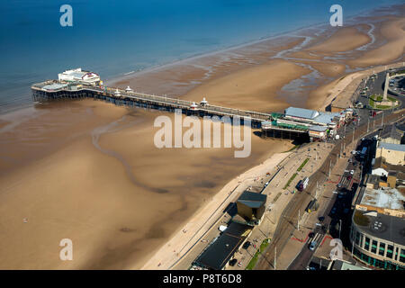 UK, England, Lancashire, Blackpool, Promenade, elevated view North Pier and beach from the top of Blackpool Tower - Stock Photo