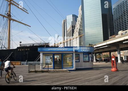 South Street and Seaport Museum in Pier 15, 16 and 17. Lower Manhattan, New York City, United States. - November 2017 | usage worldwide - Stock Photo