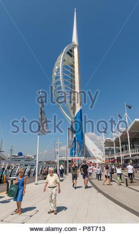 Emirates Spinnaker Tower at Gunwharf Quays, Portsmouth, Hampshire, England, UK. Emirates Tower portrait in Portsmouth. - Stock Photo