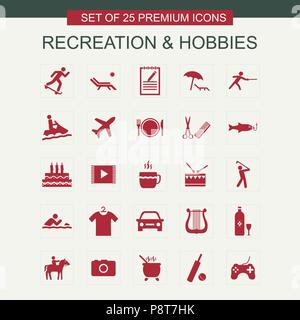 Recreations and Hobbies set of icons red. For web design and application interface, also useful for infographics. Vector illustration. - Stock Photo