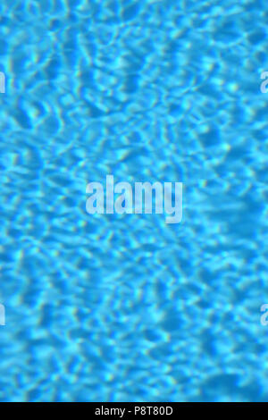 diffuse look of blue clear water in swimming pool, blurred blue water background - Stock Photo