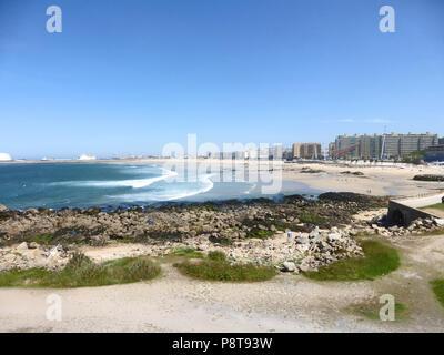 Matosinhos Beach, the surfing beach of Oporto, Portugal - Stock Photo