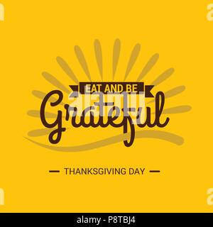Thanksgiving Day Poster. Beautiful Creative Typography on Yellow Background. For web design and application interface, also useful for infographics. V - Stock Photo