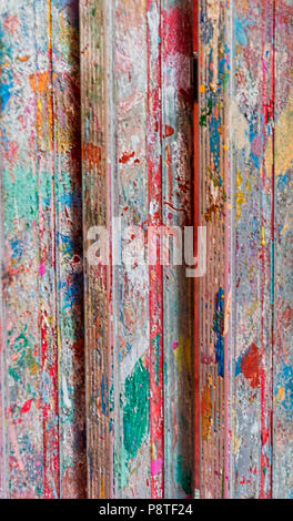 Burano Italy Old Painted stepladder - Stock Photo