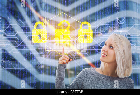 Smiling woman unlocking digital screen interface with her finger. Choose the correct padlock from three options. Fingerprint scanning, future security - Stock Photo