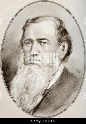 Brigham Young, 1801 – 1877.  American religious leader, politician, settler and the second president of The Church of Jesus Christ of Latter-day Saints. He founded Salt Lake City and served as the first governor of the Utah Territory.  Illustration by Gordon Ross, American artist and illustrator (1873-1946), from Living Biographies of Religious Leaders. - Stock Photo