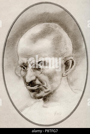 Mohandas Karamchand Gandhi, 1869 – 1948.   Indian activist, the leader of the Indian independence movement against British rule. Illustration by Gordon Ross, American artist and illustrator (1873-1946), from Living Biographies of Religious Leaders.