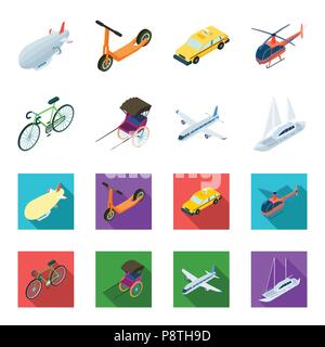 Bicycle, rickshaw, plane, yacht.Transport set collection icons in cartoon,flat style vector symbol stock illustration . - Stock Photo