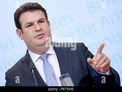 Berlin, Germany. 13th July, 2018. Minister for Work and Social Affairs from the Social Democratic Party (SPD), Hubertus Heil, giving a press conference for the outline of the new pension concept. Credit: Britta Pedersen/dpa-zentralbid/dpa/Alamy Live News - Stock Photo