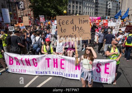 London, UK. 13th July, 2018. Anti-Trump demonstration draws thousands of protesters to the city on the day US president Donald Trump begins his UK visit. Credit: Guy Corbishley/Alamy Live News - Stock Photo